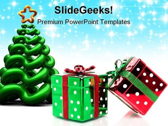 Glittery Christmas Tree Festival PowerPoint Themes And PowerPoint Slides 0211