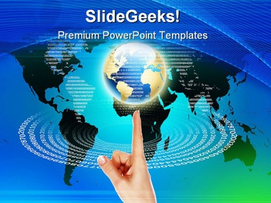Global Balanced On Finger With Code Technology PowerPoint Templates And PowerPoint Backgrounds 0411