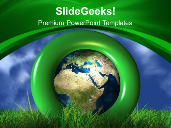 Global Green Background With Sky PowerPoint Templates Ppt Backgrounds For Slides 0613