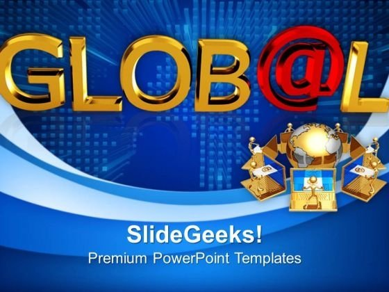 Global With A Shiny Red At Symbol Metaphor PowerPoint Templates And PowerPoint Themes 1012