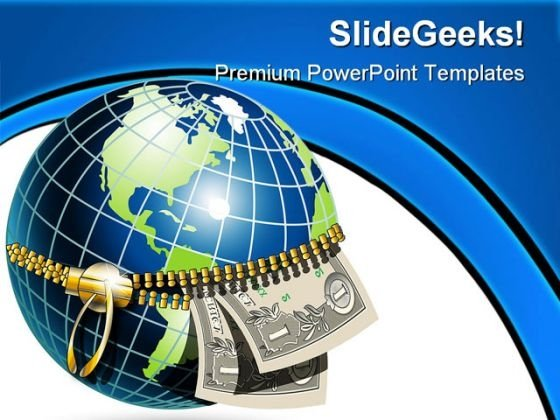 Globe And Dollar Money PowerPoint Backgrounds And Templates 0111
