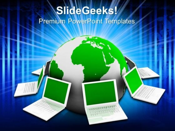 Globe And Laptop Internet PowerPoint Templates And PowerPoint Themes 0812