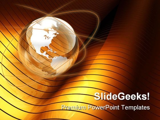 Globe Gold Wave Earth PowerPoint Template 1110