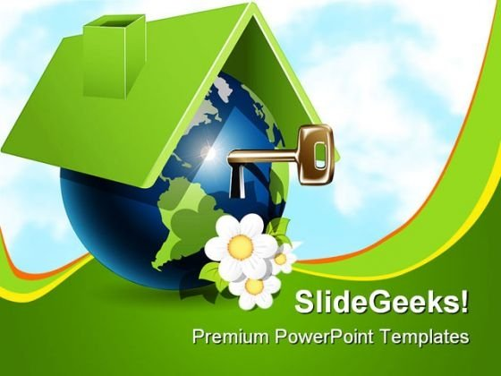 Globe House With Key Realestate PowerPoint Themes And PowerPoint Slides 0211