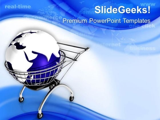 Globe In Shopping Cart PowerPoint Templates Ppt Backgrounds For Slides 0713