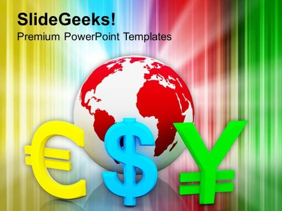 Globe With Currency Symbols Finance PowerPoint Templates Ppt Backgrounds For Slides 1212