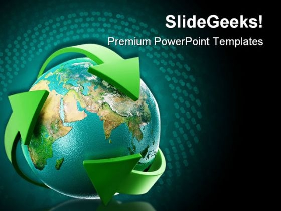 Globe With Green Arrows Earth PowerPoint Themes And PowerPoint Slides 0511