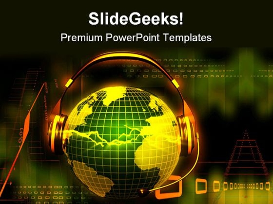 Globe With Head Phone Music PowerPoint Templates And PowerPoint Backgrounds 0611