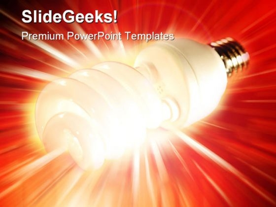 Glowing Bulb Idea Business PowerPoint Template 0810
