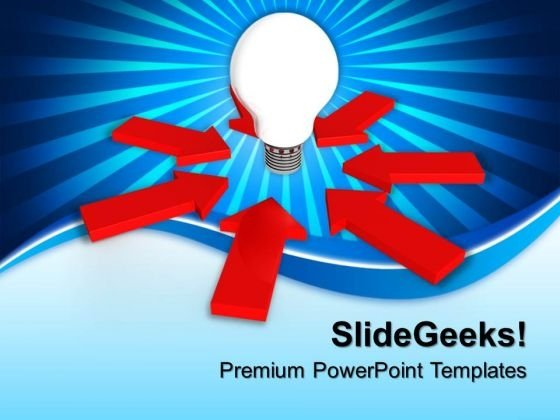 Glowing Bulb In Center Of Arrows PowerPoint Templates And PowerPoint Themes 0912