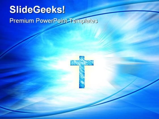 Glowing Cross Religion PowerPoint Template 0810