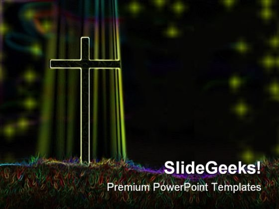 Glowing Cross Religion PowerPoint Themes And PowerPoint Slides 0211