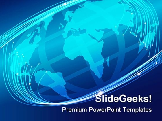 Glowing Optical Fibers Earth PowerPoint Themes And PowerPoint Slides 0311
