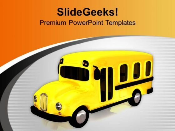 Go To School By Bus PowerPoint Templates Ppt Backgrounds For Slides 0613