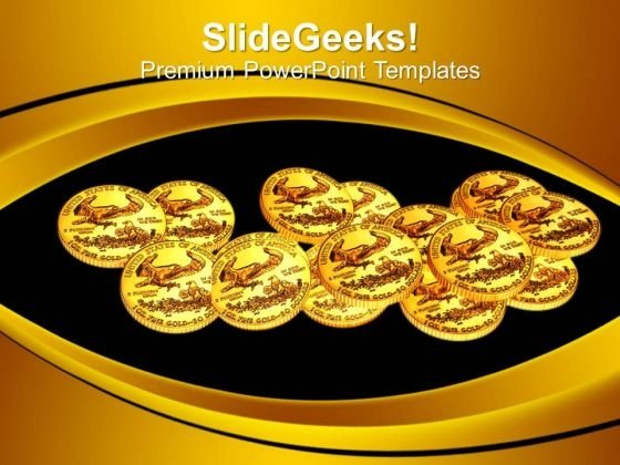 Gold Coins Over Black Background Financial PowerPoint Templates Ppt Backgrounds For Slides 1212
