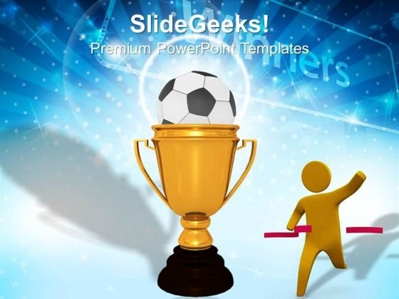 Gold Cup Winner With Soccer Ball Success PowerPoint Templates And PowerPoint Themes 1012