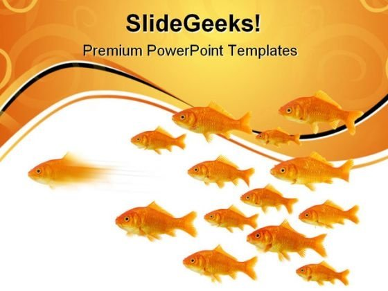 Gold Fish Leadership Animals PowerPoint Templates And PowerPoint Backgrounds 0611