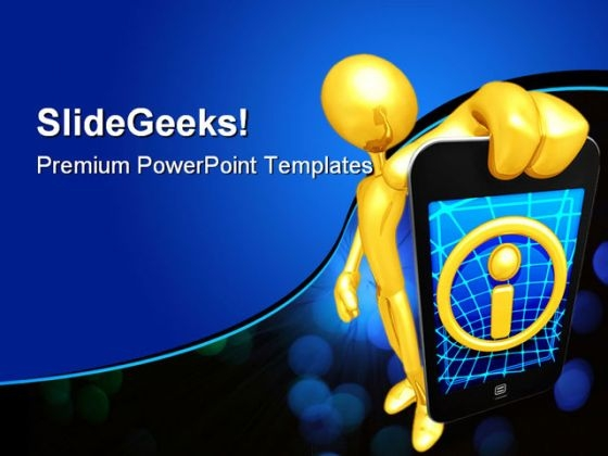Gold Guy With Touch Screen Technology PowerPoint Templates And PowerPoint Backgrounds 0311