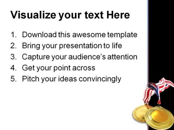Gold Medals Sports Powerpoint Template 0610 - Powerpoint Themes