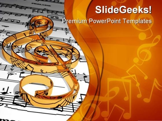 Gold Music Symbol PowerPoint Themes And PowerPoint Slides 0311