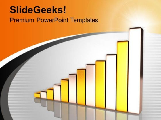 Golden And Silver Bar Graph Growth PowerPoint Templates Ppt Backgrounds For Slides 0213