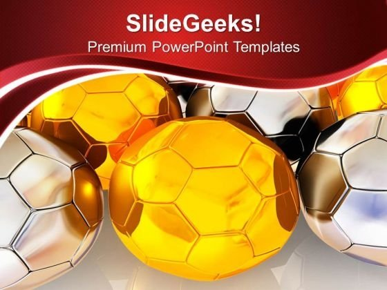 Golden And Silver Footballs Game Theme PowerPoint Templates Ppt Backgrounds For Slides 0413