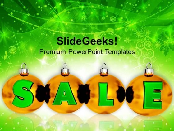 Golden Balls With Sale Shopping Concept PowerPoint Templates Ppt Backgrounds For Slides 1112