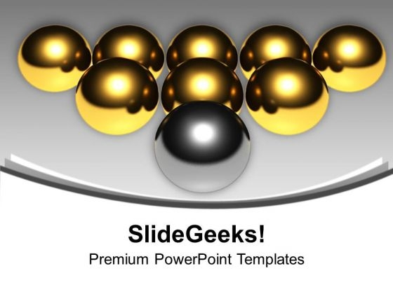 Golden Balls With Silver Balls Arrow PowerPoint Templates Ppt Backgrounds For Slides 0213