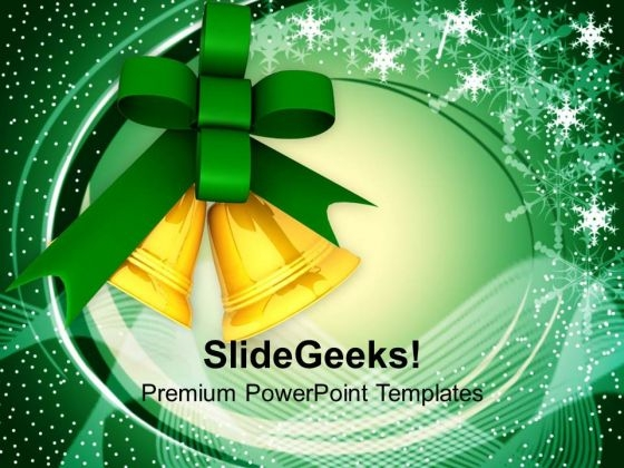 Golden Bells And Green Ribbon PowerPoint Templates Ppt Backgrounds For Slides 1212