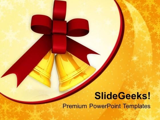Golden Bells And Red Ribbon PowerPoint Templates Ppt Backgrounds For Slides 1212