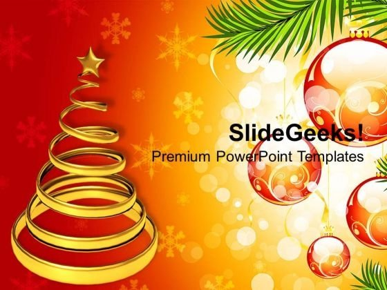 Golden Christmas Tree On Decorative Background Powerpoint Templates