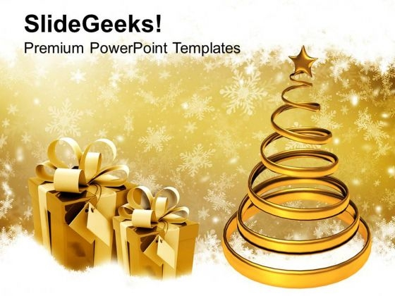 Golden Christmas Tree With Gifts Festival PowerPoint Templates Ppt Backgrounds For Slides 1112