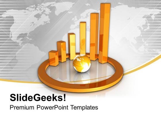 Golden Circular Bar Graph With Globe PowerPoint Templates Ppt Backgrounds For Slides 0313