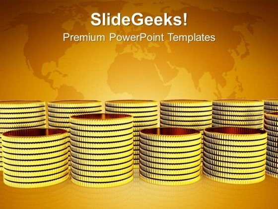 Golden Coins Global Business PowerPoint Templates And PowerPoint Themes 1112