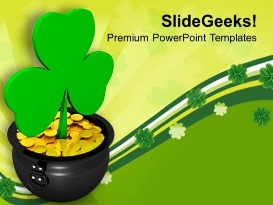 Golden Coins In Pot With Shamrock Festival PowerPoint Templates Ppt Backgrounds For Slides 0313