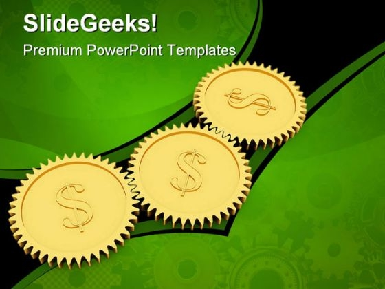 Golden Dollar Gears Industrial PowerPoint Themes And PowerPoint Slides 0511