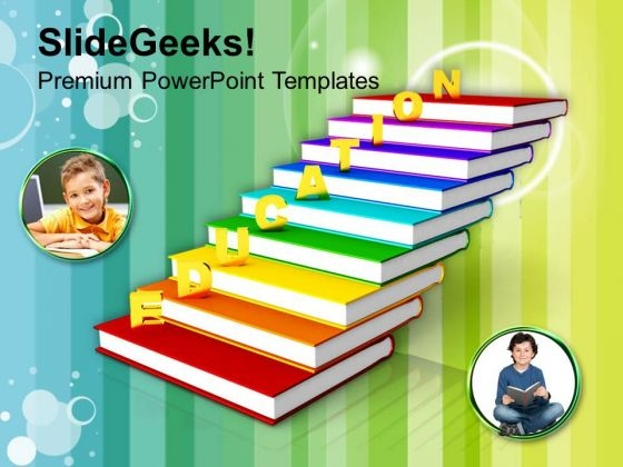 Golden Education On Books As Staircase PowerPoint Templates Ppt Backgrounds For Slides 0113