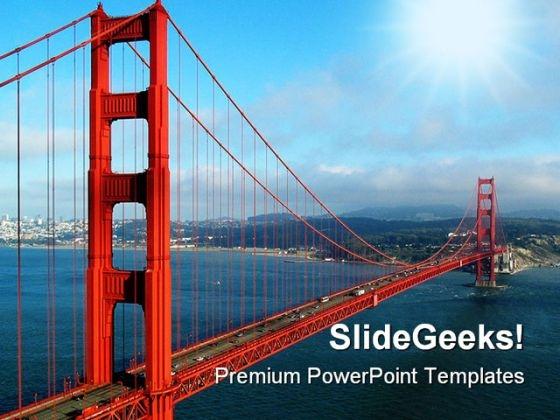 Golden Gate Bridge Transportation PowerPoint Background And Template 1210