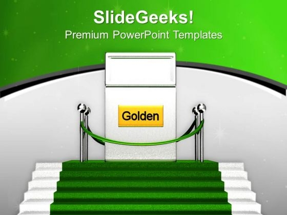 Golden Gate On Green Carpet Success PowerPoint Templates Ppt Backgrounds For Slides 0313