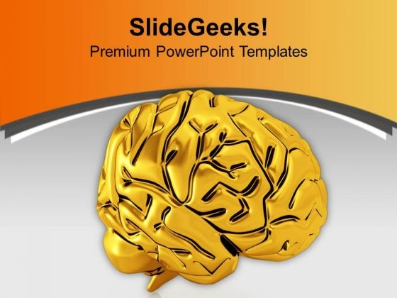 Golden Human Brain For Medical Theme PowerPoint Templates Ppt Backgrounds For Slides 0613