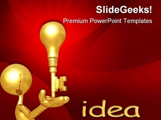 Golden Key Idea Business PowerPoint Templates And PowerPoint Backgrounds 0611