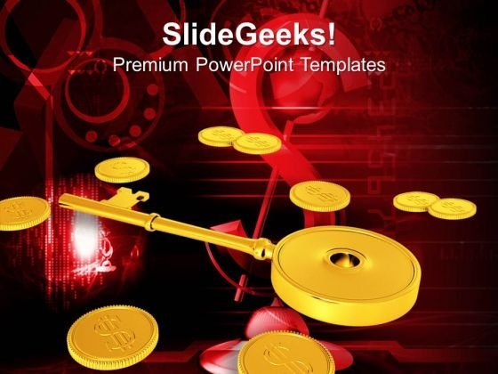 Golden Key With Coins Secured Investment Finance PowerPoint Templates And PowerPoint Themes 1012