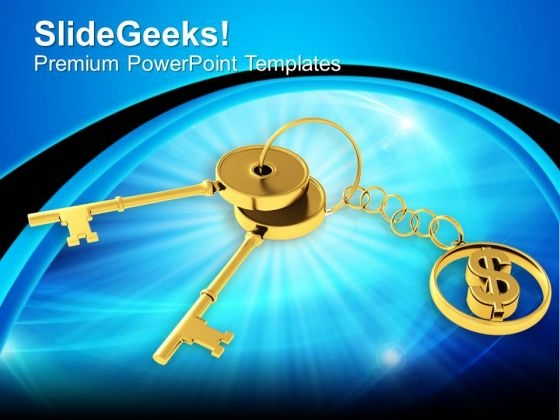 Golden Key With Dollar Sign Keychain Finance PowerPoint Templates Ppt Backgrounds For Slides 1212