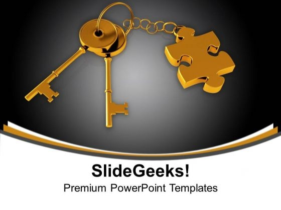 Golden Key With Puzzle Piece On Chain Security PowerPoint Templates And PowerPoint Themes 1012