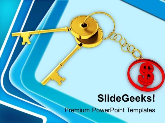 Golden Key With Red Dollar Sign PowerPoint Templates Ppt Backgrounds For Slides 1212