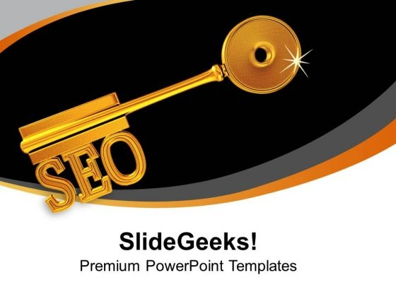 Golden Key With Seo Business Strategy PowerPoint Templates Ppt Backgrounds For Slides 0213