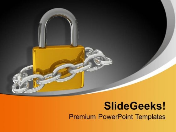 Golden Lock With Security Chain PowerPoint Templates Ppt Backgrounds For Slides 0313