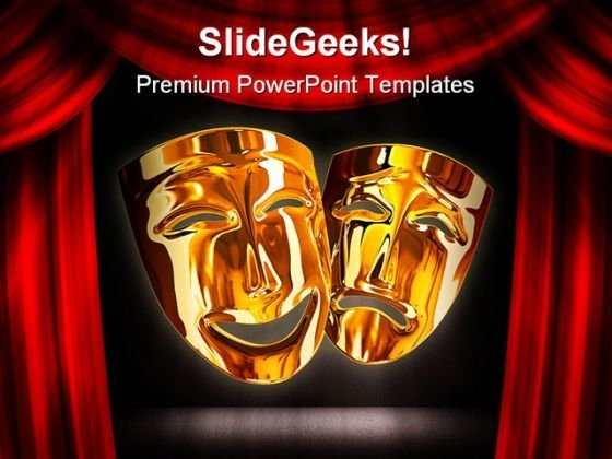Golden Mask Entertainment PowerPoint Themes And PowerPoint Slides 0711