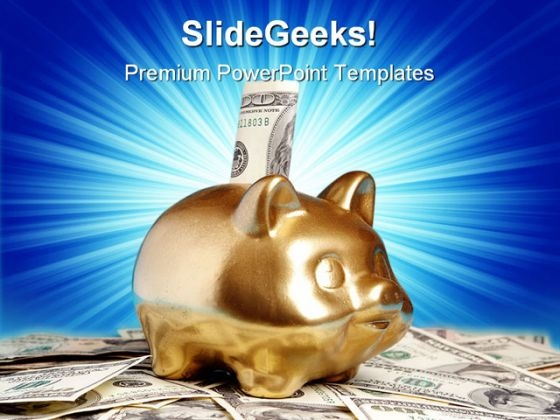 Golden Piggy Bank Money PowerPoint Templates And PowerPoint Backgrounds 0211