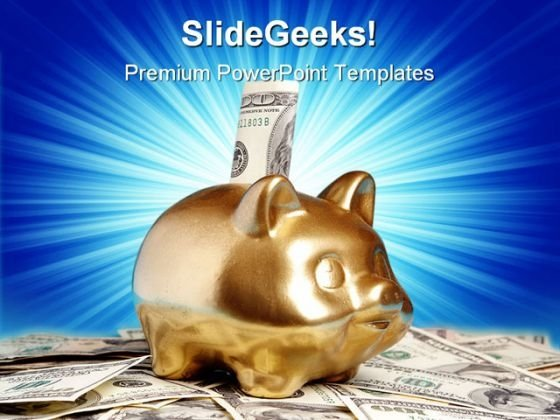 Golden Piggy Bank Money PowerPoint Themes And PowerPoint Slides 0211